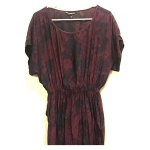 Express maroon patterned dress with pockets